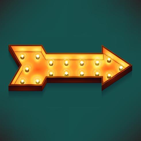Icona volumetrica 3d realistico di vettore sulla freccia destra destra simbolo marquee illuminato con lampadine elettriche