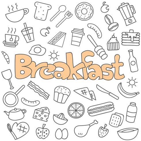 Handritad doodle frukost set vektor