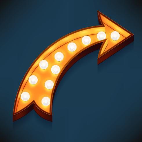 Icona volumetrica 3d realistica di vettore sul segno di tendone che gira a destra freccia accesa con lampadine elettriche