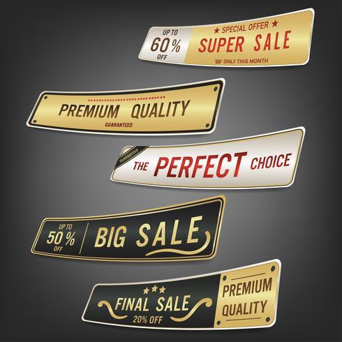 Ensemble d'étiquettes de vente et bannière. Design doré de luxe.