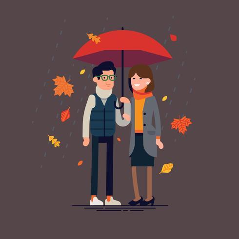 Par står tillsammans under paraply