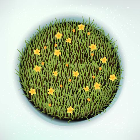 Elemento redondo del diseño de la hierba verde de la primavera