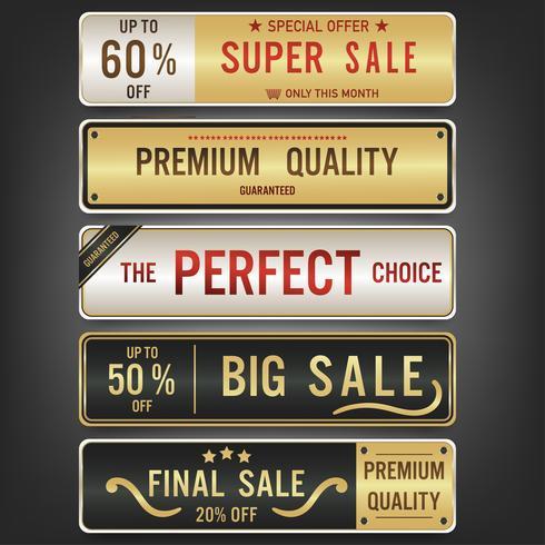 Conjunto de etiquetas de venta y banner. Diseño dorado de lujo.
