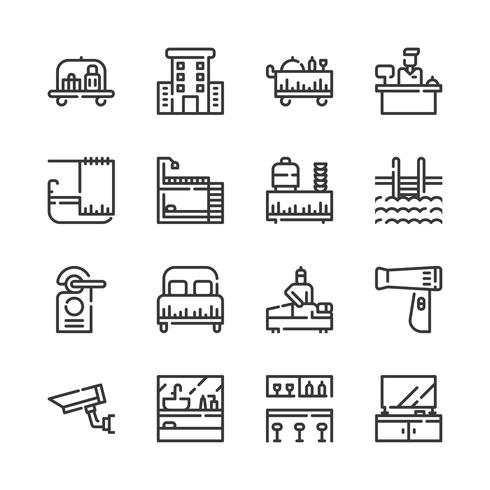 Hotel service pictogramserie. Vectorillustratie vector