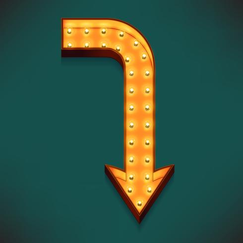 Vector realistic 3d volumetric icon on marquee symbol right angle pointing down arrow lit up with electric bulbs
