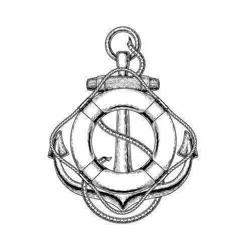 Vector illustratie van een oude nautische anker en reddingsboei