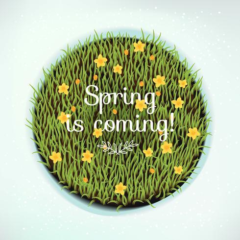 La primavera está viniendo alrededor del elemento de diseño