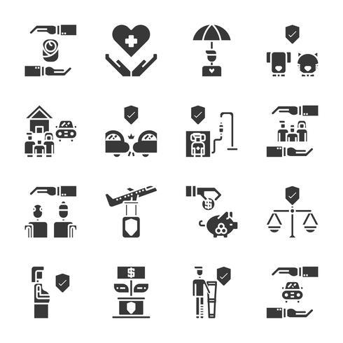 Försäkring ikon set.Vector illustration