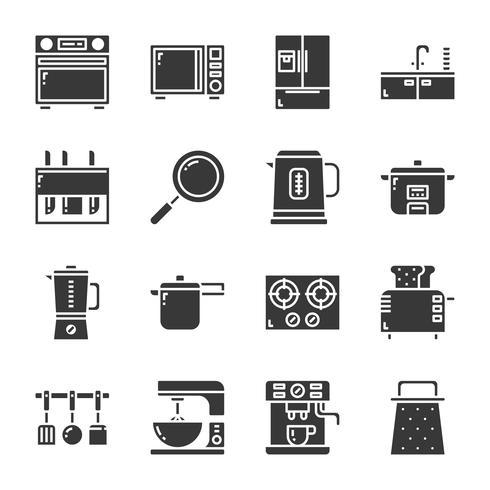 Conjunto de ícones de utensílios de cozinha. Ilustração vetorial