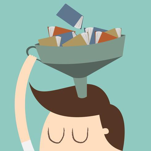 Kunskap. Planlösning affärsidé tecknad illustration.