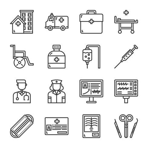 Conjunto de iconos de hospital. Ilustración de vector