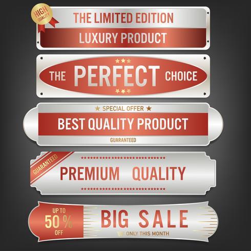 Set Verkaufsaufkleber und -fahne. Luxus Silber Design.