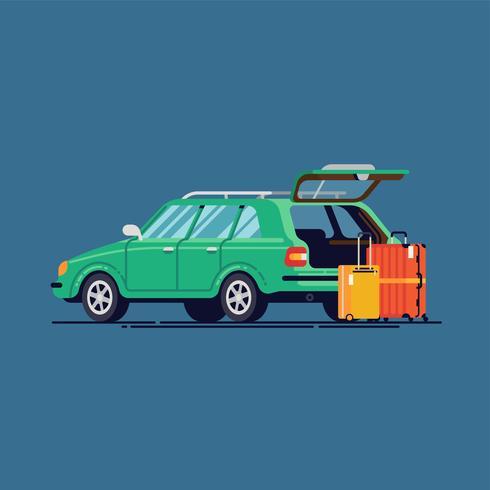 Bil med öppen bagage och resväskor