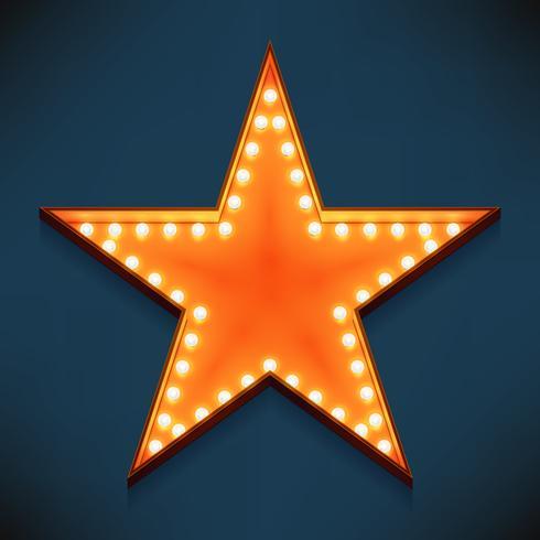 Simbolo stella d'oro incandescente con lampade
