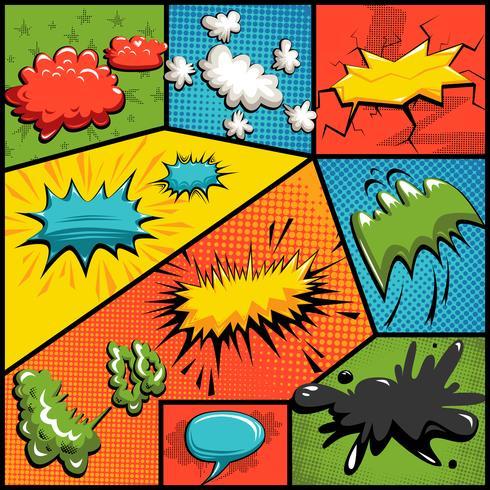 Vector conjunto de burbujas de explosión de cómics