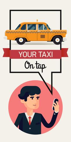 Modèle de bannière de taxi appelant homme d'affaires