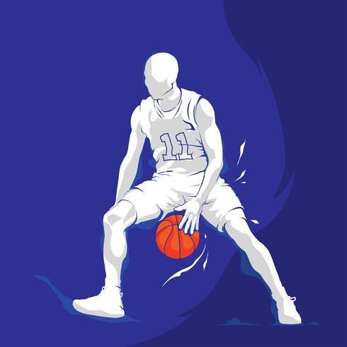 respingo de jogador de basquete silhueta branca vetor