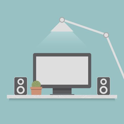display del computer. Illustrazione di concetto dei cartoni animati.