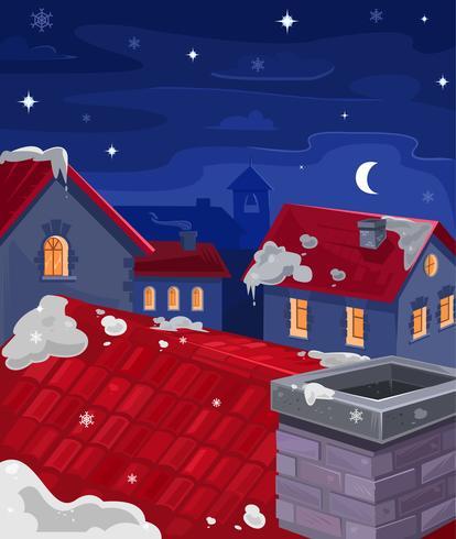 Vetorial, ilustração, de, casas, à noite