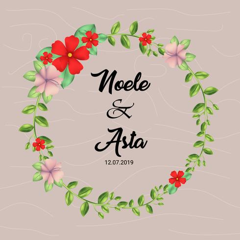 cute floral wreath with texture background vector