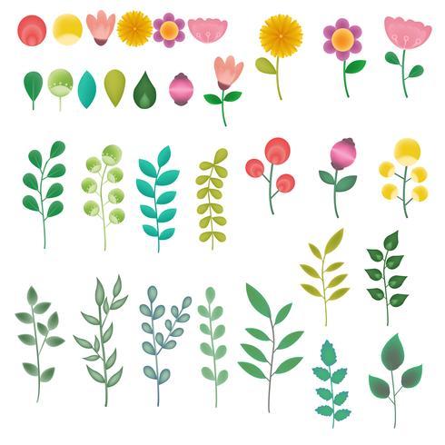 conjunto de ícones de flor coleção de elementos vetor