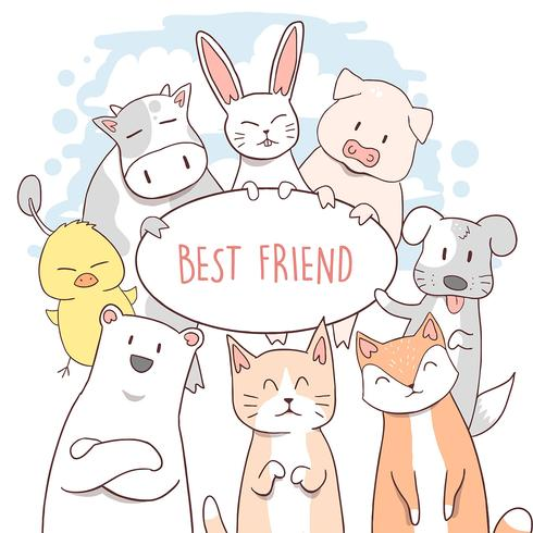 CAT, COW, PUPPY, DUCK, PIG, CHIPMUNK, RABBIT AND THE BEAR FRIENDS