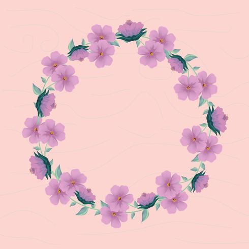 schattig bloemen krans met textuur achtergrond
