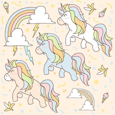 UNICORN PATTERN CUTE UNICORN FLYING WITH THUNDER AND RAINBOW