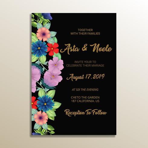 söt blommig bröllopsinbjudan ram vektor