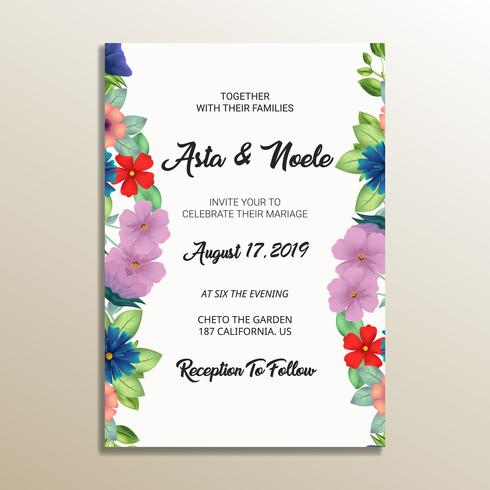 quadro de convite de casamento floral fofo vetor
