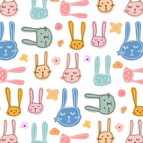 Schattig Bunny patroon achtergrond. Vector illustratie.