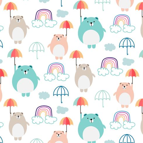 Cute Bear And Umbrella Pattern Background For Kids. Vector Illustration.