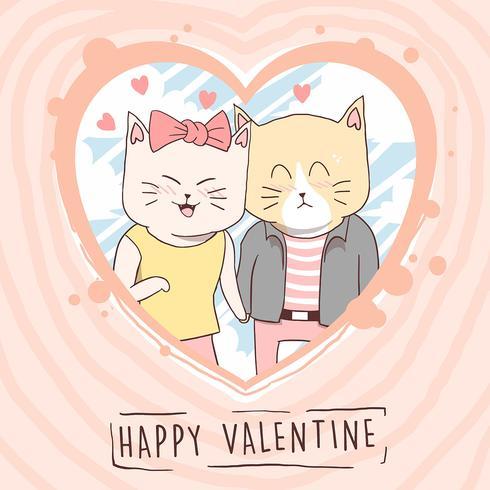 CAT CUTE LOVE VALENTINE COUPLE VECTOR