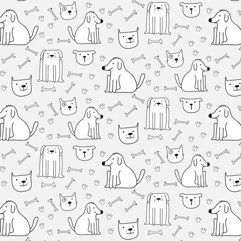 Fondo lindo dibujado mano del modelo de los perros. Ilustracion vectorial