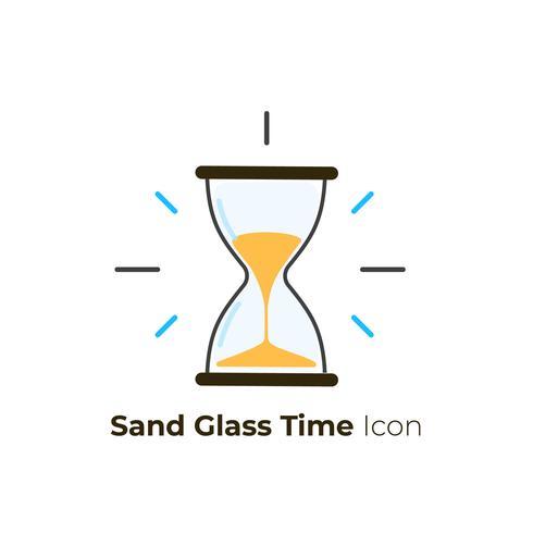 Ícones de tempo de vidro de areia vetor