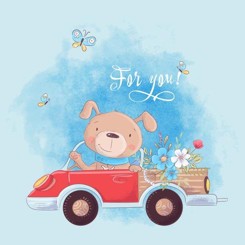 Cão bonito dos desenhos animados em um caminhão com flores, cartaz de impressão de cartão postal para um quarto de criança s. vetor