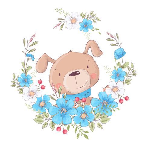 Gullig tecknad hund i en krans av blommor, vykorttryckaffisch för barnens rum.