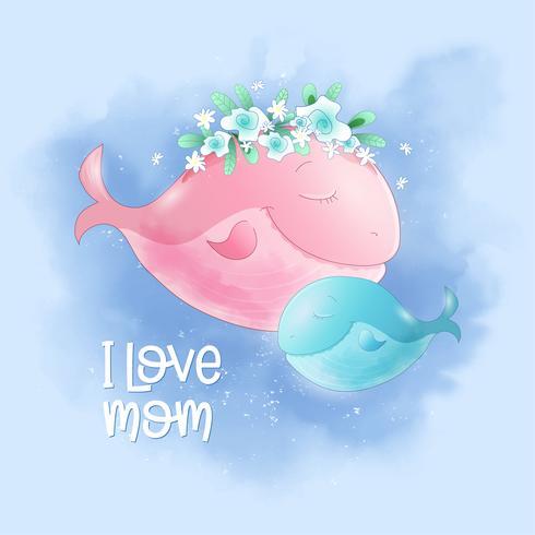 Cute cartoon balena mamma e figlio nel cielo, cartolina di stampa poster per la camera di un bambino.