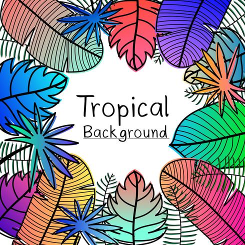Hand Drawn Tropical Leaves Background. vector
