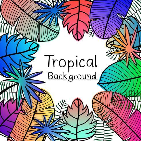 Dibujado a mano fondo de hojas tropicales. vector