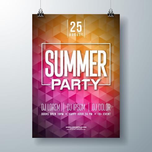 Diseño del aviador del partido de la celebración del verano del vector con la letra de la tipografía en fondo abstracto. Ilustración de vacaciones de verano para banner flyer