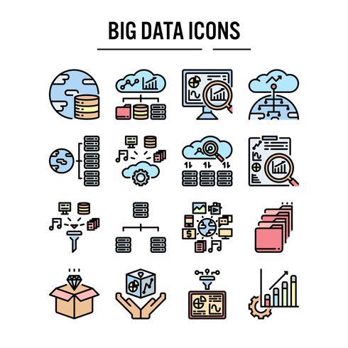 Big data icon set in filled outline design