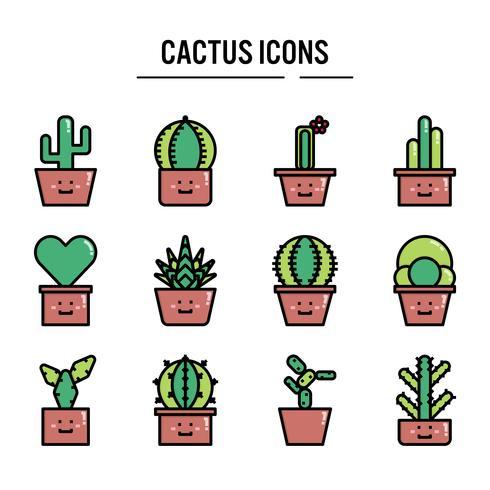 Cactus icon in outline set design vector