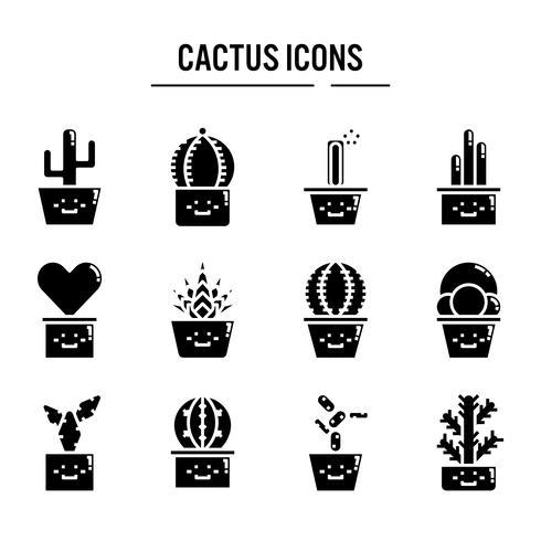 Cactus ikon i glyph design vektor