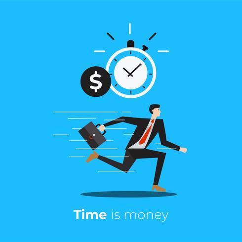 Tempo é dinheiro com o ícone de cronômetro e dólar vetor