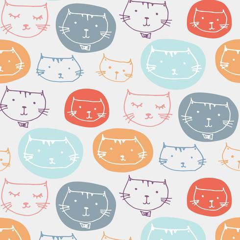 Hand getekende schattige katten patroon achtergrond. Vector illustratie.