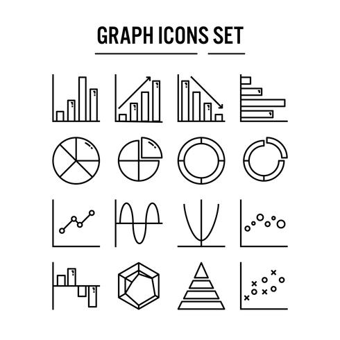 Graph and diagram icon in outline design vector