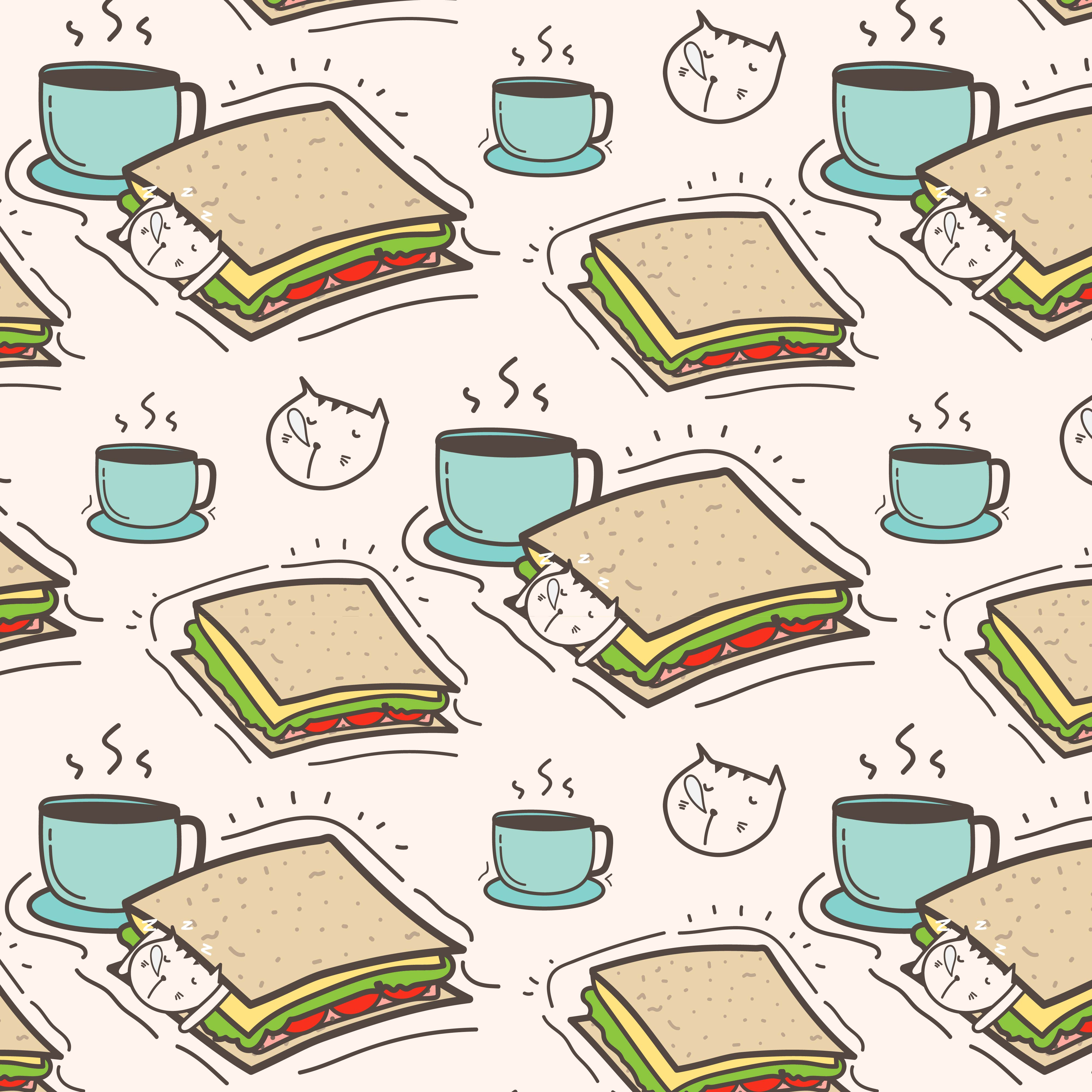Cute Cat Sandwich And Coffee Pattern Background. Vector ...
