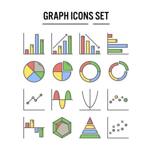 Icono de gráfico y diagrama en contorno completo