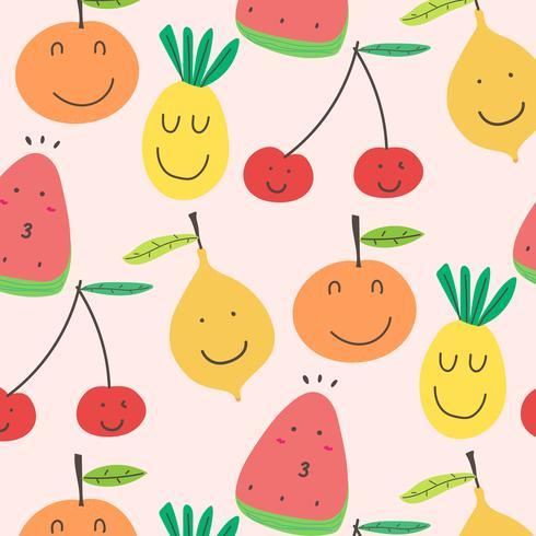 Fundo Bonito Do Teste Padrão Das Frutas. Ilustração vetorial.